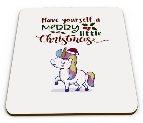 Christmas Unicorn Funny Novelty Glossy Mug Coaster
